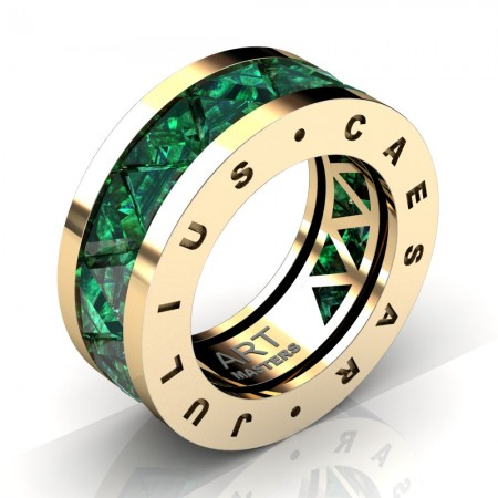 Caesars-Collection-Mens-Modern-14K-Yellow-Gold-Triangle-Emerald-Channel-Cluster-Wedding-Band-R777KS-14KYGREM