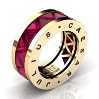 Caesars Collection 14K Yellow Gold Triangle Ruby Channel Cluster Signature Ring R777KS-14KYGR
