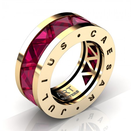 Caesars-Collection-Mens-Modern-14K-Yellow-Gold-Triangle-Ruby-Channel-Cluster-Ring-Band-R777KS-14KYGR2