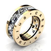 Caesars Collection 14K Yellow Gold Triangle White Sapphire Channel Cluster Signature Ring R777KS-14KYGWS