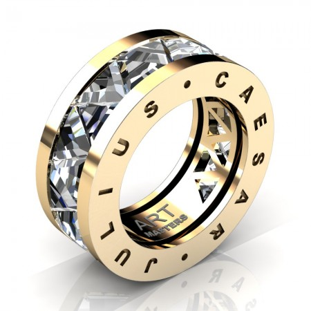 Caesars-Collection-Mens-Modern-14K-Yellow-Gold-Triangle-White-Sapphire-Channel-Cluster-Wedding-Band-R777KS-14KYGWS