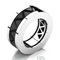 Caesars Modern 14K White Gold Triangle Black Sapphire Channel Cluster Mens Ring R777K-14KWGBLS