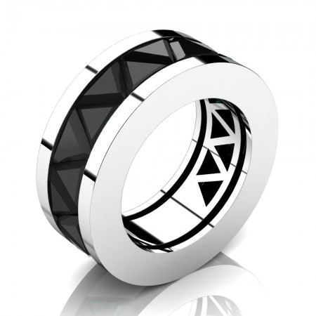 Caesars-Collection-Modern-14K-White-Gold-Triangle-Black-Sapphire-Channel-Cluster-Mens-Ring-R777K-14KWGBLS
