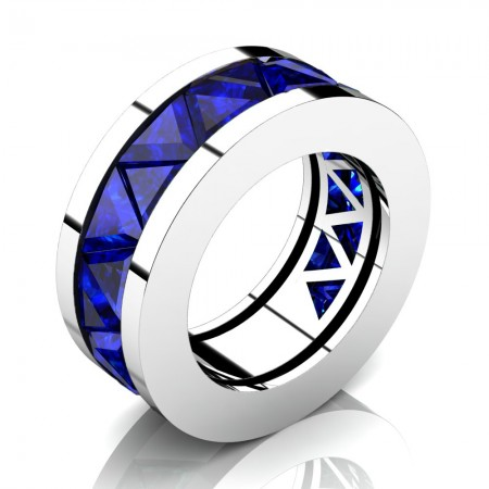 Caesars-Collection-Modern-14K-White-Gold-Triangle-Blue-Sapphire-Channel-Cluster-Mens-Ring-R777K-14KWGBS