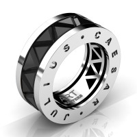 Caesars Collection 14K White Gold Triangle Black Sapphire Channel Cluster Signature Ring R777KS-14KWGBLS