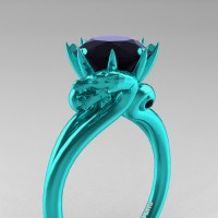 Art Masters Dragon 14K Cyan Gold 3.0 Ct Black Diamond Engagement Ring R601-14KCGBD