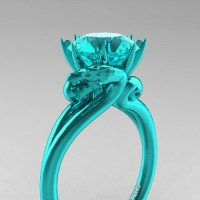 Art Masters Dragon 14K Cyan Gold 3.0 Ct Blue Diamond Engagement Ring R601-14KCGBLD