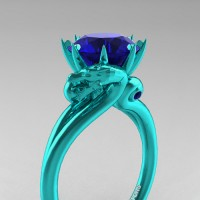 Art Masters Dragon 14K Cyan Gold 3.0 Ct Blue Sapphire Engagement Ring R601-14KCGBS