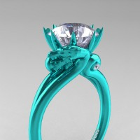 Art Masters Dragon 14K Cyan Gold 3.0 Ct White Sapphire Engagement Ring R601-14KCGWS