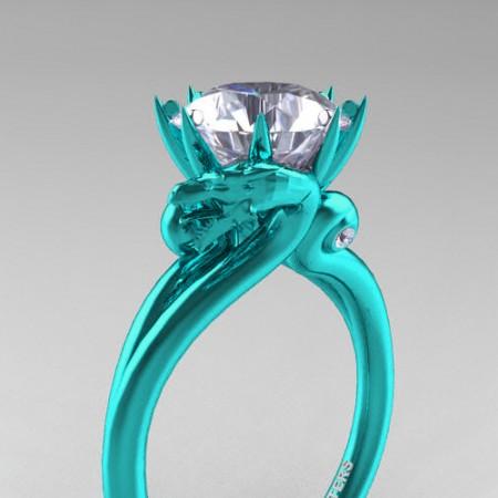 Art-Masters-Avant-Garde-14K-Cyan-Gold-3-Carat-White-Sapphire-Dragon-Engagement-Ring-R601-14KTGWS-P