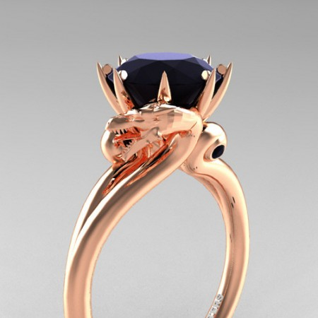 Art-Masters-Avant-Garde-14K-Rose-Gold-3-Carat-Black-Sapphire-Dragon-Engagement-Ring-R601-14KRGBLS-P
