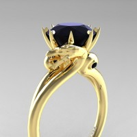 Art Masters Dragon 14K Yellow Gold 3.0 Ct Black Sapphire Engagement Ring R601-14KYGBLS