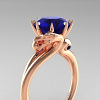 Art Masters Dragon 14K Rose Gold 3.0 Ct Blue Sapphire Engagement Ring R601-14KRGBS