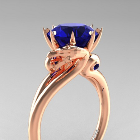 Art-Masters-Jewelry-14K-Rose-Gold-3-Carat-Blue-Sapphire-Dragon-Engagement-Ring-R601-14KRGBS-P