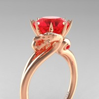 Art Masters Dragon 14K Rose Gold 3.0 Ct Rubies Engagement Ring R601-14KRGR