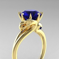 Art Masters Dragon 14K Yellow Gold 3.0 Ct Blue Sapphire Engagement Ring R601-14KYGBS