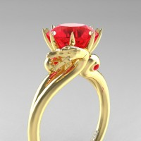 Art Masters Dragon 14K Yellow Gold 3.0 Ct Rubies Engagement Ring R601-14KYGR