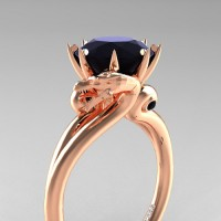 Art Masters Dragon 14K Rose Gold 3.0 Ct Black Diamond Engagement Ring R601-14KRGBD