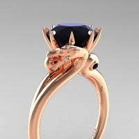 Art Masters Dragon 14K Rose Gold 3.0 Ct Black Diamond Engagement Ring R601-14KRGBD