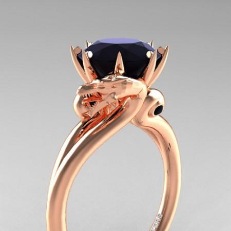 Scandinavian-14K-Rose-Gold-3-Carat-Black-Diamond-Dragon-Engagement-Ring-R601-14KRGBD-P
