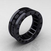 Mens Modern 14K Black Gold 6.0 Ct Princess Black Sapphire Channel Cluster Wedding Band R354M-14KBGBLS