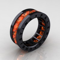 Mens Modern 14K Black Gold 6.0 Ct Princess Orange Sapphire Channel Cluster Wedding Band R354M-14KBGOS