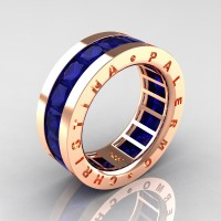 Mens Modern 14K Rose Gold 6.0 Ct Princess Blue Sapphire Channel Cluster Wedding Band R354M-14KRGBS