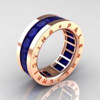 Mens Modern 14K Rose Gold 6.0 Ct Princess Blue Sapphire Channel Cluster Wedding Band R354M-14KRGBS