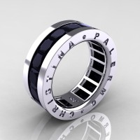 Mens Modern 14K White Gold 6.0 Ct Princess Black Diamond Channel Cluster Wedding Band R354M-14KWGBD
