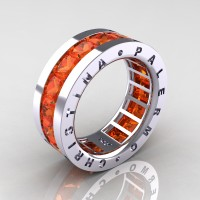 Mens Modern 14K White Gold 6.0 Ct Princess Orange Sapphire Channel Cluster Wedding Band R354M-14KWGOS