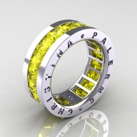 Mens Modern 14K White Gold 6.0 Ct Princess Yellow Sapphire Channel Cluster Wedding Band R354M-14KWGYS
