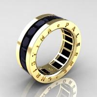 Mens Modern 14K Yellow Gold 6.0 Ct Princess Black Sapphire Channel Cluster Wedding Band R354M-14KYGBLS