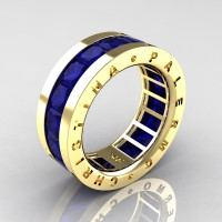 Mens Modern 14K Yellow Gold 6.0 Ct Princess Blue Sapphire Channel Cluster Wedding Band R354M-14KYGBS