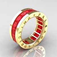 Mens Modern 14K Yellow Gold 6.0 Ct Princess Ruby Channel Cluster Wedding Band R354M-14KYGR