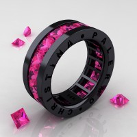 Womens Modern 14K Black Gold 6.0 Ct Princess Pink Sapphire Channel Cluster Wedding Band R354F-14KBGPS