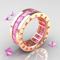 Womens Modern 14K Rose Gold 6.0 Ct Princess Light Pink Sapphire Channel Cluster Wedding Band R354F-14KRGLPS