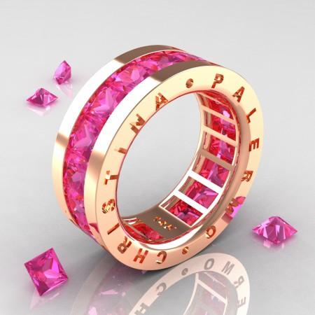 Christina-Palermo-Womens-Modern-14K-Rose-Gold-6-0-Ct-Princess-Pink-Sapphire-Channel-Cluster-Wedding-Band-R354F-14KRGPS-P