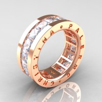 Womens Modern 14K Rose Gold 6.0 Ct Princess White Sapphire Channel Cluster Wedding Band R354F-14KRGWS