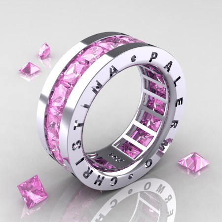 Christina-Palermo-Womens-Modern-14K-White-Gold-6-0-Ct-Princess-Light-Pink-Sapphire-Channel-Cluster-Wedding-Band-R354F-14KWGLPS-P