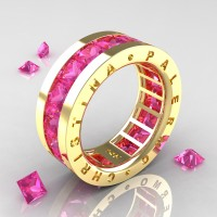 Womens Modern 14K Yellow Gold 6.0 Ct Princess Pink Sapphire Channel Cluster Wedding Band R354F-14KYGPS