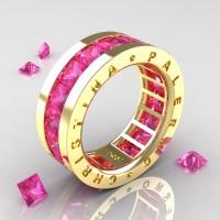 Womens Modern 14K Yellow Gold 6.0 Ct Princess Pink Sapphire Channel Cluster Wedding Band R354F-14KYGPS