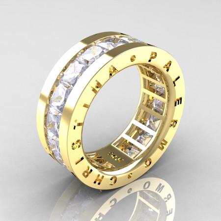 Christina-Palermo-Womens-Modern-14K-Yellow-Gold-6-0-Ct-Princess-White-Sapphire-Channel-Cluster-Wedding-Band-R354F-14KYGWS-P