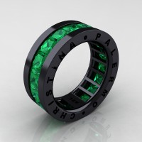 Mens Modern 14K Black Gold 6.0 Ct Princess Emerald Channel Cluster Wedding Band R354M-14KBGEM