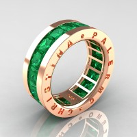 Mens Modern 14K Rose Gold 6.0 Ct Princess Emerald Channel Cluster Wedding Band R354M-14KRGEM