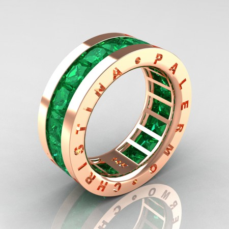 Christina-Palermo-Mens-Modern-14K-Rose-Gold-6-0-Ct-Princess-Emerald-Channel-Cluster-Wedding-Band-R354M-14KRGEM-P