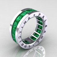 Mens Modern 14K White Gold 6.0 Ct Princess Emerald Channel Cluster Wedding Band R354M-14KWGEM