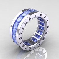 Mens Modern 14K White Gold 6.0 Ct Princess Light Blue Sapphire Channel Cluster Wedding Band R354M-14KWGLBS