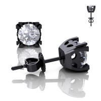 Modern Vintage 14K Black Gold 1.0 Ct White Sapphire French Stud Earrings E102-14KBGWS