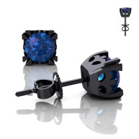 Modern Vintage 14K Black Gold 1.25 Ct Alexandrite French Stud Earrings E102-14KBGAL