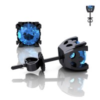Modern Vintage 14K Black Gold 1.0 Ct Blue Topaz French Stud Earrings E102-14KBGBT